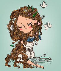 cute girl with long hairs