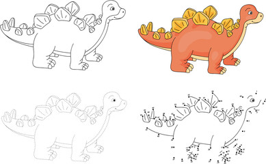 Cartoon stegosaurus. Vector illustration. Dot to dot game for ki