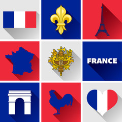 France Flat Icon Set