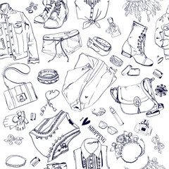 seamless pattern with fashion goods