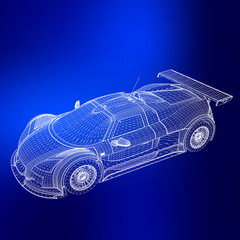 Abstract Creative concept vector background of 3d car model. Sports car