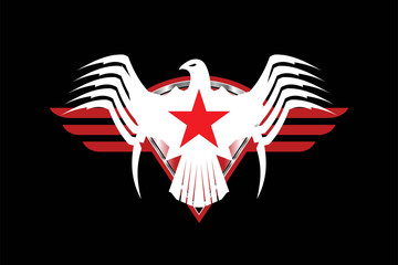 Eagle. White eagle with the red star and red stripes