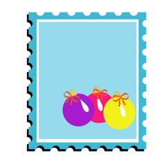coloured postal Christmas stamp with bright toys
