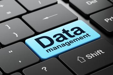 Data concept: Data Management on computer keyboard background