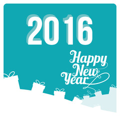 Happy New year illustration over color background