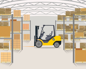 The loader is in a large light between warehouse rack storages with merchandise. Vector illustration