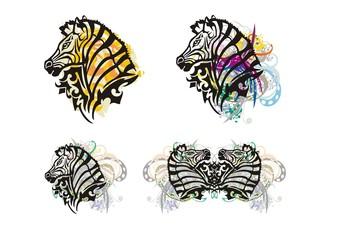 Tribal zebra splashes. Grunge zebra head with floral elements. Four options
