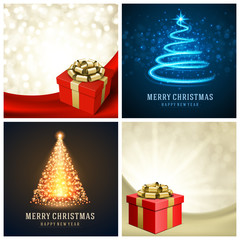 Christmas typography labels design and vector backgrounds set