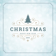 Christmas lights with snowflakes and typography label design vector background