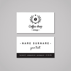 Coffee shop business card design concept. Coffee shop logo with coffee bean and laurel wreath. Vintage, hipster and retro style. Black and white.
