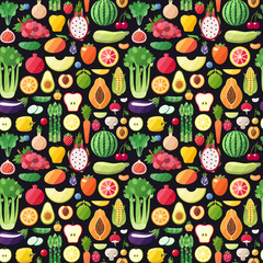 Big fruits and vegetables seamless vector pattern. Modern flat design. Healthy food wrapping paper.