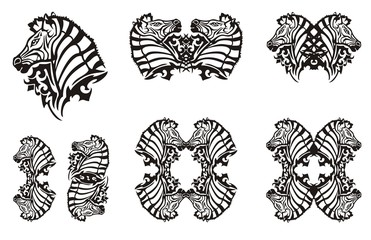Tribal zebra symbols. Tattoo, symbol, zebra frame or element