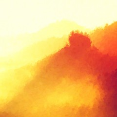 Watercolor paint. Paint effect. Misty landscape, heavy  fog between hills and orange sky within early sunrise