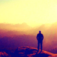 Watercolor paint. Paint effect.  Slim melancholic man on the sharp peak of rock in rock empires park  is watching to Sun