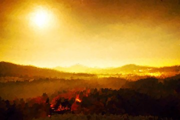 Watercolor paint. Paint effect. Wonderful full moon night. The fog is moving between hills peaks  makes with moon rays