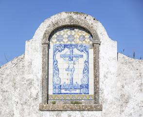 Altar Christ on the Cross tiles, Sao Pedro church in Almargem do Bispo, Sintra, Portugal