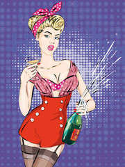 Pin-up Christmas girl with bottle of champagne