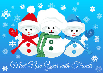 Cute snowmen friends wearing scarfs and mittens greet new year holding together. Design concept of friendship, new year and joy of seeing dear people. Vector isolated on gradient blue background.