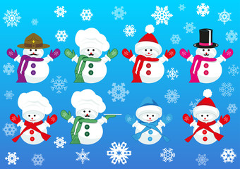 Set of cute snowmen wearing different hats and scarfs. Vector isolated on gradient blue background with snowflakes. Collection for page and web decor or other design.