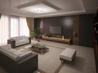 Functional comfortable living room with a brown background.