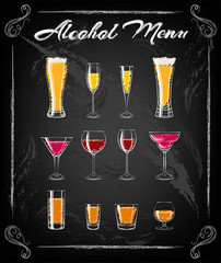 Various glasses on the chalkbord bachground. Glasses for cocktails, wine, vodka, beer and water. Vector Illustration