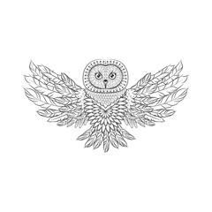 Zentangle Ornate Owl. Tattoo sketch Vector Illustration