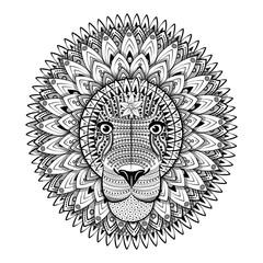 Zentangle Ornate Lion. Tattoo sketch Vector Illustration