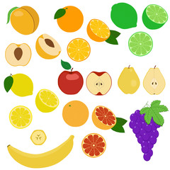 Set of fruits and fruit slices. Isolated objects on a white background.