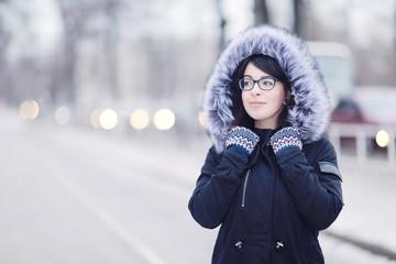 European girl portrait winter outside