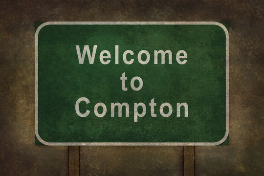 Welcome to Compton, roadside sign illustration