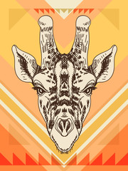 Vector hand drawn illustration with giraffe head.