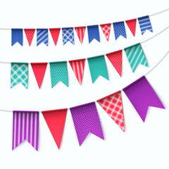 Vector Set of Multicolored Buntings Garlands Flags Isolated on White Background