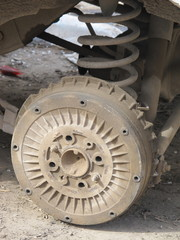 Old rusted vehicle drum brake system