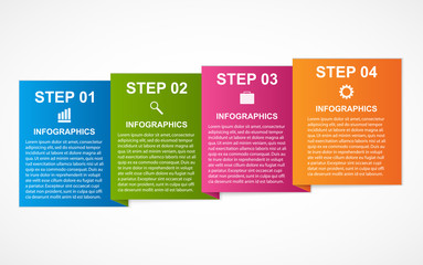 Colorful squares infographics for your business presentations. Vector illustration.