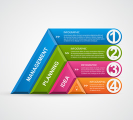 Abstract 3D pyramid options infographics template.