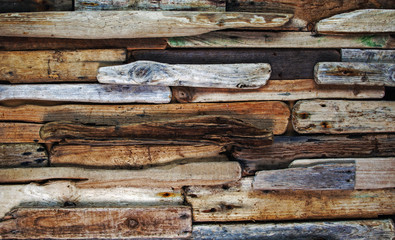 Driftwood, knotty planks, and paint, background texture Wall mural