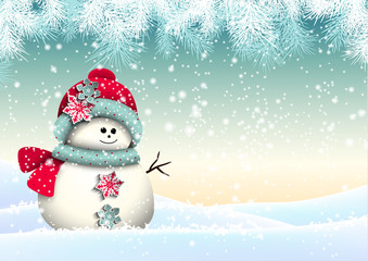 Cute snowman with in winter landscape, illustration