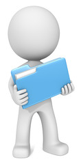 File. Dude 3D character holding Blue Manila Folder. Front view.