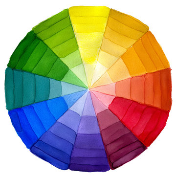 Colorful wheel with shade of colors. Watercolor illustration. Isolated on white background.