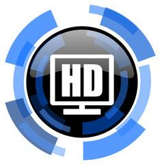 hd display black blue glossy web icon