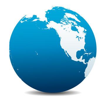 North America, Canada, Siberia and Hawaii Global World