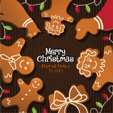 Merry Christmas from our family to yours with gingerbread mom, dad, son, daughter and pets. EPS 10 vector royalty free illustration.