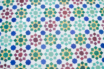 Beautiful Moroccan tile mosaic with floral pattern on white background