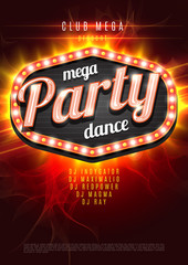 Mega Party Dance Poster Background Template with retro light frame on red flame background - Vector Illustration.