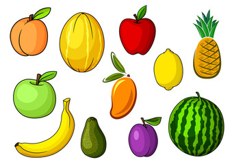 Farm colorful sweet fruits in cartoon style