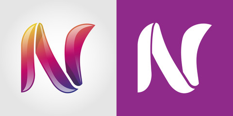N Letter Colorful Tech  Logo