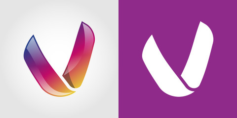 V Letter Colorful Tech  Logo