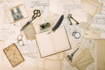 Antique accessories, Paris postcards, old letters