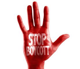 Stop Boycott written on hand isolated on white background