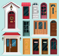 Set of detailed colorful front doors to private houses and buildings. Front door with Christmas wreath. Flat style vector illustration.